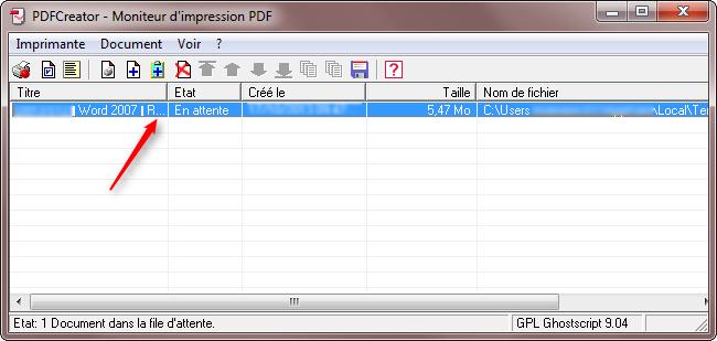 Document fusionné dans le moniteur d'impression - Etape 12
