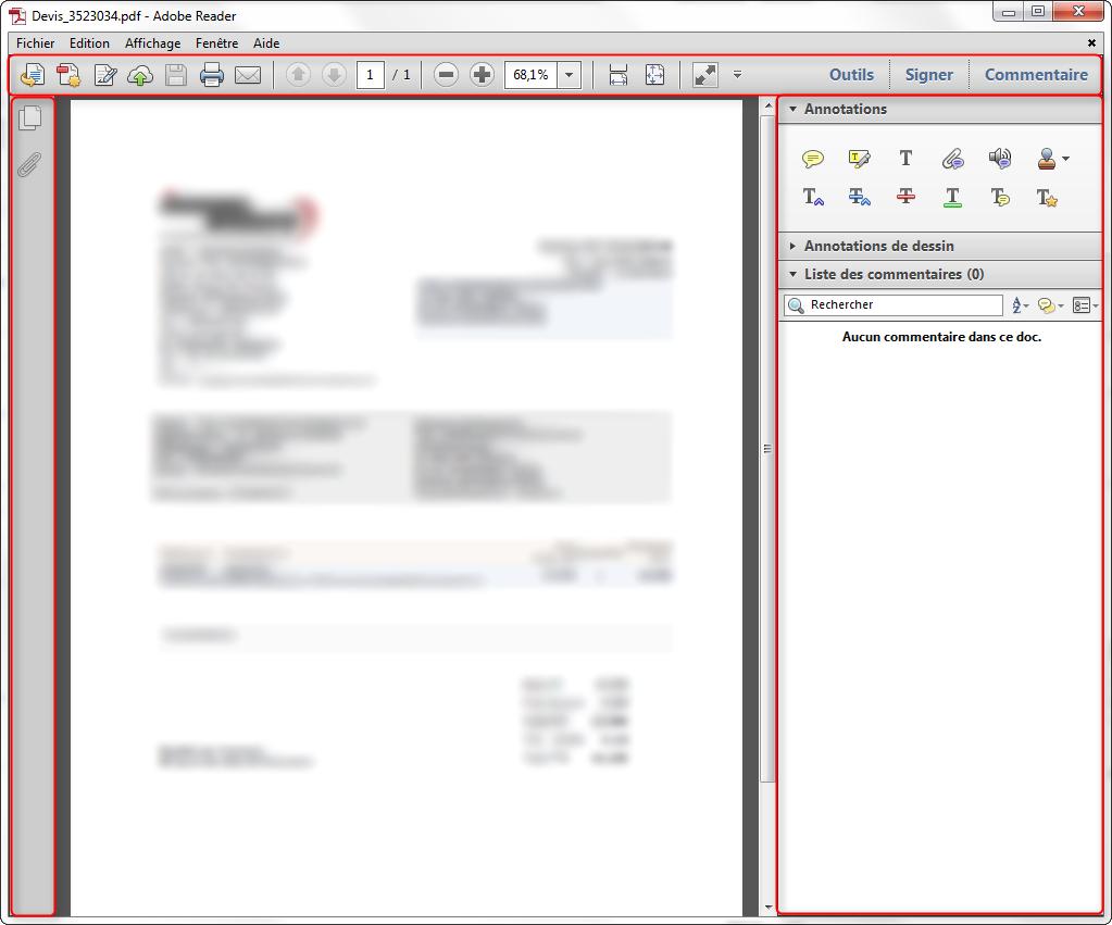 Adobe Reader - Fenêtre droite