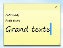 Pense bête taille texte