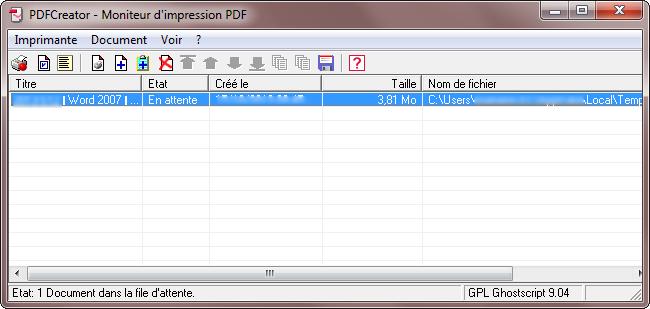 Moniteur d'impression PDFCreator - Etape 6