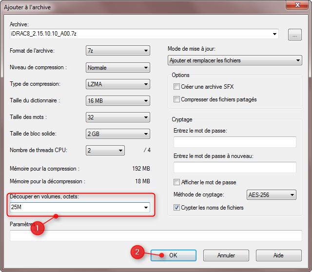Diviser fichiers avec 7Zip 3