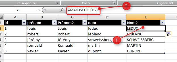 3 Excel – Changer la casse (minuscule - majuscule) d'un texte